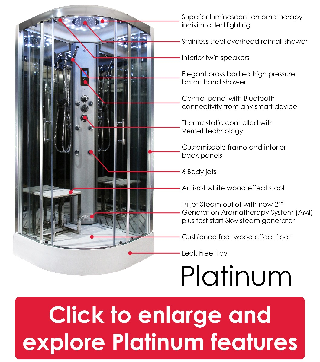 Platinum Shower features