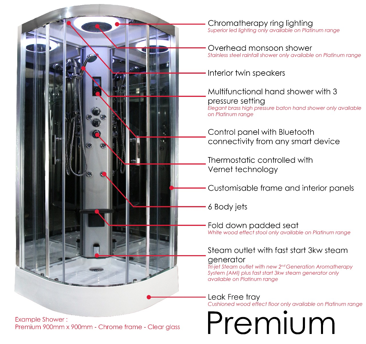 Premium Shower features